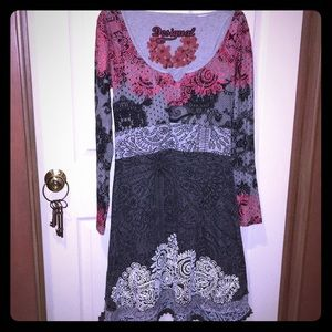 Desigual Grey Black Red dress -  Size Large